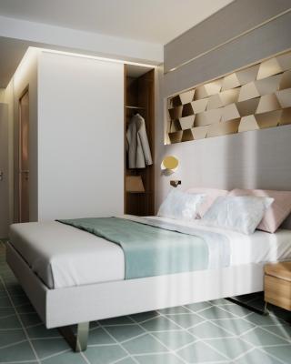 3DVisionDesign Exclusive hotelszoba belsőépitészeti 3d látványterv púder arany zöld szinben