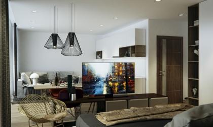 Modern konyha étkező nappali VR látványtervek