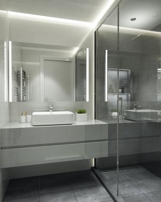 Szürke fürdőszoba design 3d látványterv ingatlan értékesítés céljából