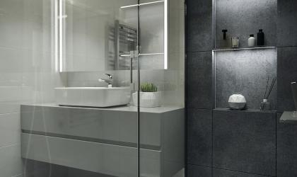 Szürke fürdőszoba design látványterv