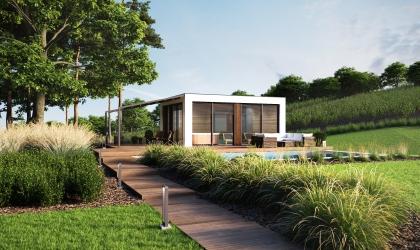 Luxus szauna ház termékvizualizáció látványterv