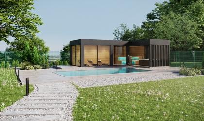 Egyedi készítésű kültéri luxus szauna ház látványtervek