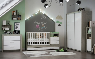 3DVisionDesign zöld szürke fiúszoba design lakberendezés gyerekszoba termékvizualizació 3d látványterv