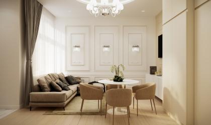 Beige Airbnb lakás belsőépítészeti látványtervek