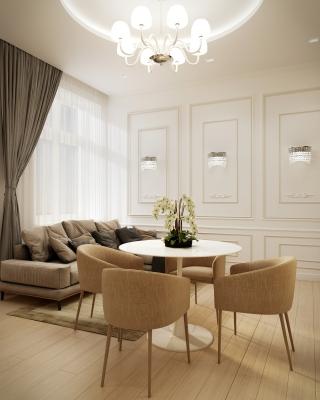 Beige Airbnb lakás belsőépítészeti látványtervek nappali konyha étkező fürdőszoba