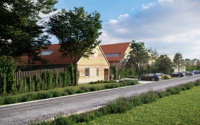 Nemesvámos Fehérlófia Waldorf Iskola építészeti homlokzati látványterv 3DVisionDesign