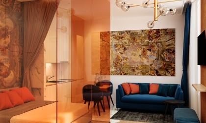 Orange Airbnb lakás belsőépítészeti látványtervek