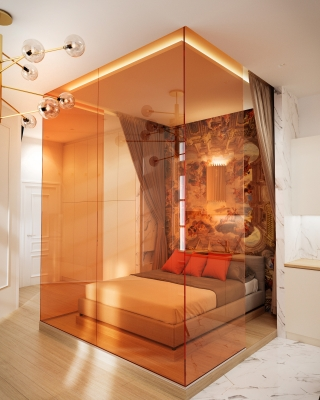Orange Airbnb lakás belsőépítészeti látványtervek nappali konyha étkező fürdőszoba 3DVisionDesign